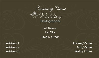 Brown and White Wedding Photographer Business Card Template